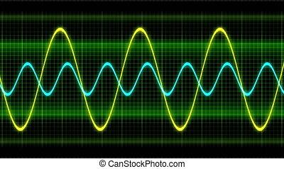 Seamless looping animation oscillogram sine waves - Seamless...