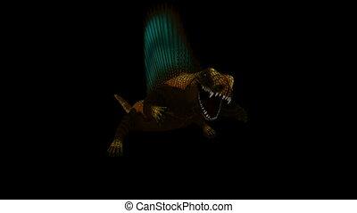 Seamless Looping Dimetrodon Animation 1. Isolated on black,...