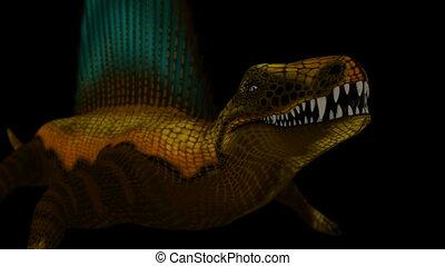 Seamless Looping Dimetrodon Animation 3. Isolated on black,...