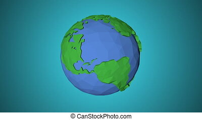 Seamless looping low poly 3d world. Bright, graphic Style