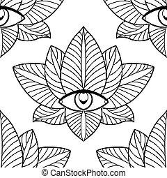 Seamless lotus and third eye on a white background. -...