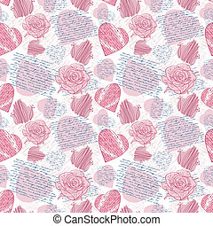 Seamless love letters-pattern imitation handwriting, all of...