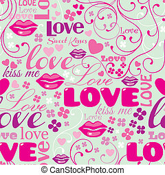 Seamless Love Pattern - Seamless Typographic Love Pattern