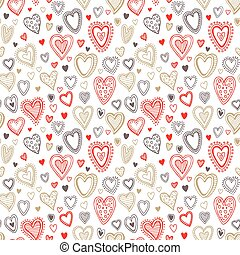 Seamless  love red and gold heart background. Vector illustration
