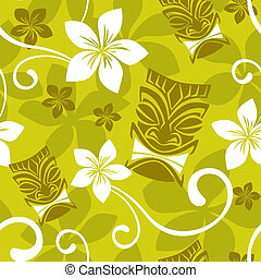 Seamless Luau Tiki Pattern - Illustration of a seamless Luau...