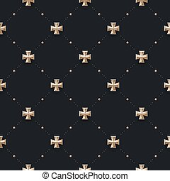 Seamless luxury dark black pattern and background with cross