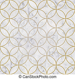 Seamless luxury golden circle geometric pattern and white marble stone texture