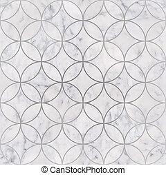 Seamless luxury white marble stone texture, circle geometric pattern