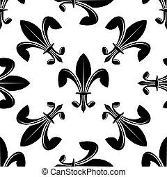 seamless, lys de fleur, modello, in, nero bianco