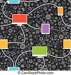 seamless, média, réseau, fond, social