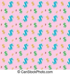 seamless, mönster, av, den, pengar, dollar, ikon