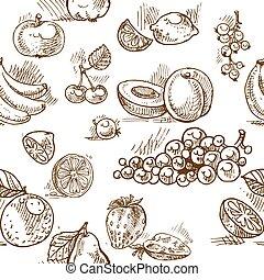 seamless, mönster, av, sommar frukt, doodles