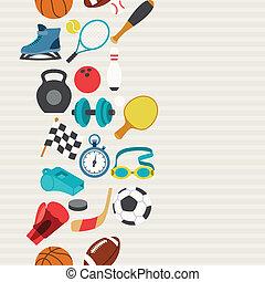 seamless, mönster, av, sport, icons.