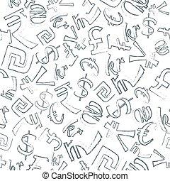 seamless, mönster, av, valutor