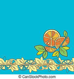 seamless, mönster, citronträd