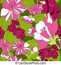 seamless, mönster, med, blommig, backgr