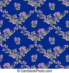 seamless, mönster, med, blomningen, på, blå, bakgrund, -, hand, oavgjord, bakgrund.