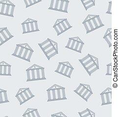 seamless, mönster, med, byggnad, av, bank