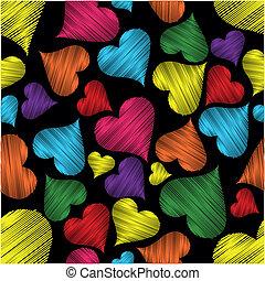 seamless, mönster, med, färgrik, hjärtan, med, fodra,...