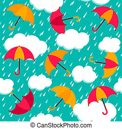 seamless, mönster, med, färgrik, paraplyer