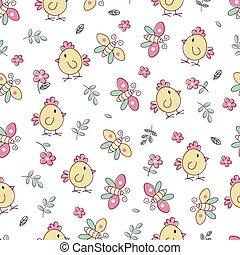 seamless, mönster, med, fåglar, och, blomningen
