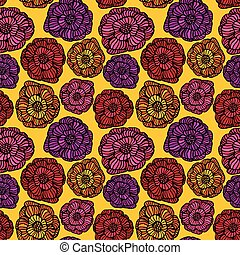 seamless, mönster, med, grafisk, blomningen, -, hand, oavgjord, bakgrund.