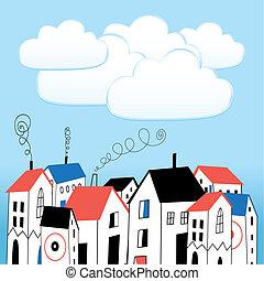 seamless, mönster, med, grafisk, hus