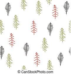 seamless, mönster, med, jul, träd., vinter, forest.