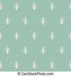 seamless, mönster, med, jul, träd., vinter, skog