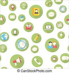 seamless, mönster, med, kommunikation, ikonen