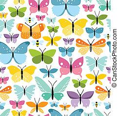 seamless, mönster, med, mycket, av, nöje, färgrik, fjärilar