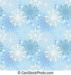 seamless, mönster, med, snöflingor, på, blå, bakgrund., bakgrund, vävnad, wrapper., desing, för, jul nytt och år, hälsningskort, nät, emballering