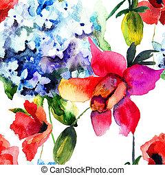 seamless, mönster, med, vacker, hortensia, och, vallmo,...