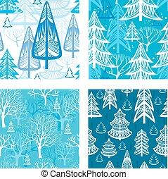 seamless, mönster, med, vinter, skog