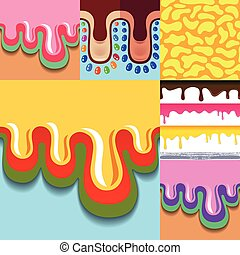 seamless, mönster, sätta, drypande, färgad