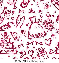 seamless, mønster, hos, bryllup, formgiv elementer