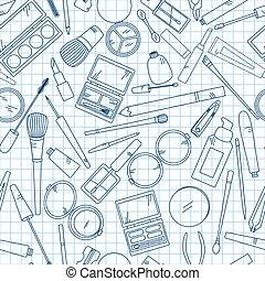 seamless, mønster, hos, redskaberne, by, makeup, på, notebook.