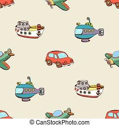 seamless, mønster, hos, skib, automobilen, og, flyvemaskine