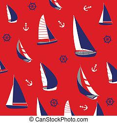 seamless, mønster, nautiske, elementer