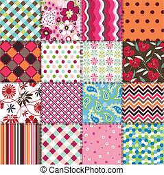 seamless, mønstre, hos, fabric, textu