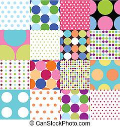 seamless, mønstre, polka prik, sæt