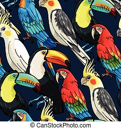 Seamless macaw and toucan - Vector macaw, toucan and...