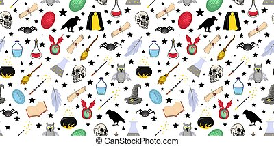 Seamless magic pattern. Halloween items and symbols. Magic wand and cloak of invisibility. School of magic and wizardry.