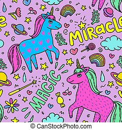 Seamless magic pattern with handdrawn unicorns and magic...