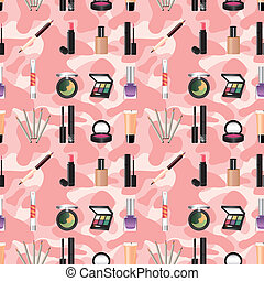 seamless makeup pattern  - seamless makeup pattern