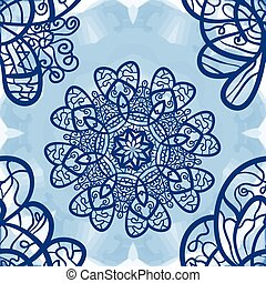 Seamless mandala-like elegant ornate pattern on blue...