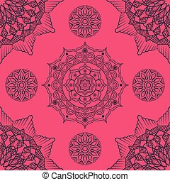 Seamless mandala pattern on pink background