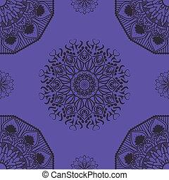 Seamless mandala pattern on purple background