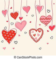 seamless, mano, estilizado, plano de fondo, dibujado, corazones