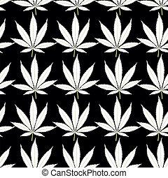 Seamless marijuana white leaves on black background pattern.